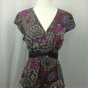 Petite Sophisticate purple floral top Large